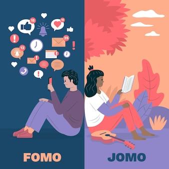 Concepto de ilustración de fomo vs jomo