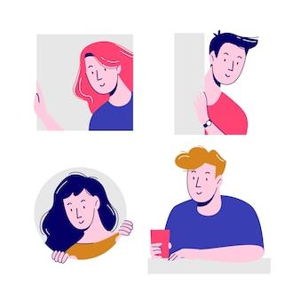 Concepto de ilustración con gente asomando