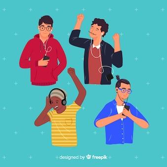Concepto de ilustración con gente escuchando música