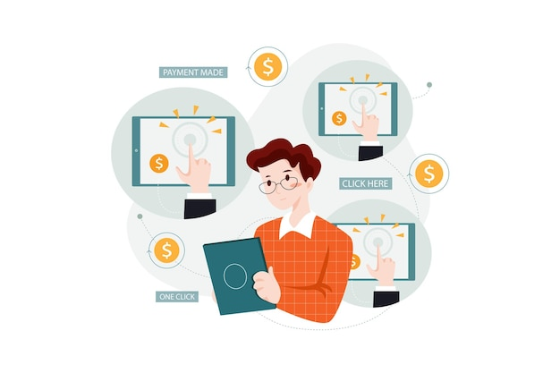 Concepto de ilustración de gestión de pago por clic