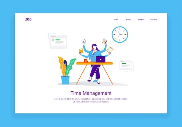 Concepto de ilustración de gestión de tiempos modernos de mujeres multitarea persiguiendo plazos para la plantilla de página de destino