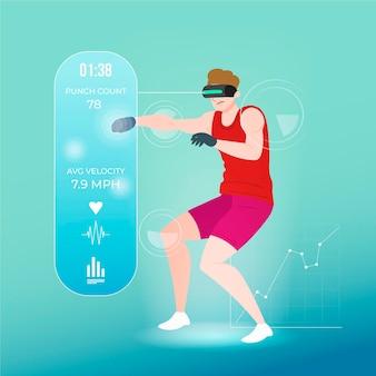 Concepto de ilustración de gimnasio virtual