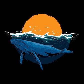 Concepto de ilustración de gran ballena