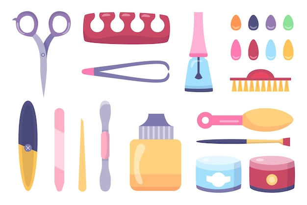 Concepto de ilustración de herramientas de manicura
