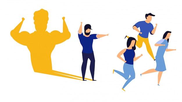 Concepto de ilustración de hombre de negocios ambición líder. capa de superman desafía el liderazgo.