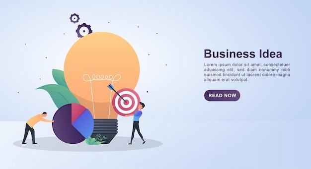 Concepto de ilustración de idea de negocio con una gran bombilla y personas que llevan objetivos.