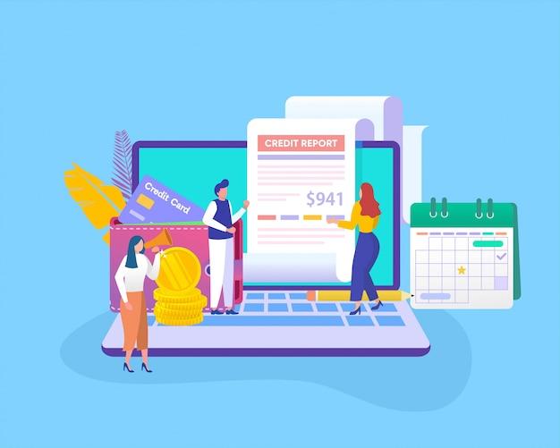 Concepto de ilustración de informe de crédito, análisis de personas calcular informe de crédito, puede usar para, página de inicio, plantilla, interfaz de usuario, web, aplicación móvil, póster, pancarta, folleto