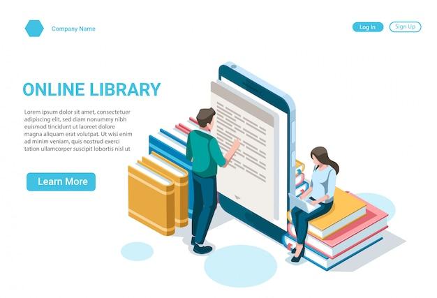 Concepto de ilustración isométrica de biblioteca de libros en línea, medios de libros electrónicos y aprendizaje electrónico