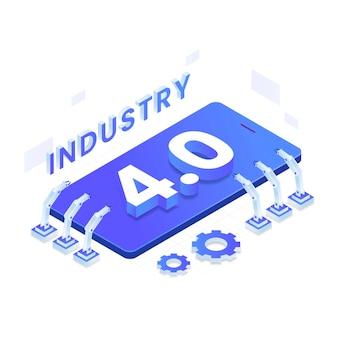 Concepto de ilustración isométrica de la industria