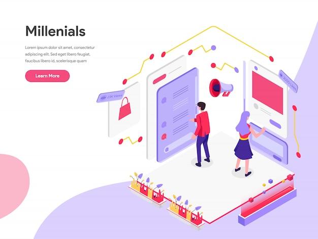 Concepto de ilustración isométrica de los millennials y los medios sociales