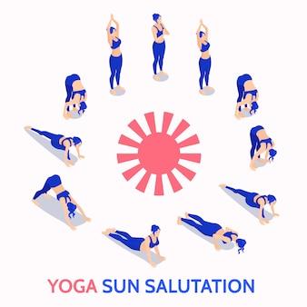 Concepto de ilustración isométrica de práctica diaria de rutina de saludo al sol de yoga