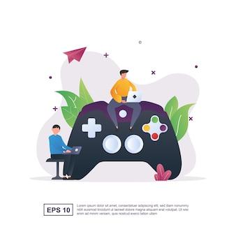 Concepto de ilustración de jugadores con una persona que juega un juego en la computadora portátil.