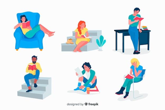 Concepto de ilustración de lectura de grupo de jóvenes