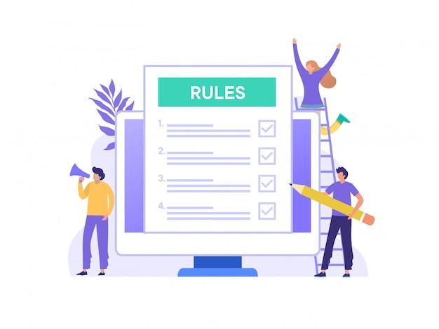 Concepto de ilustración de la ley de reglas de cumplimiento de regulaciones, personas que entienden las reglas con una computadora grande y papel