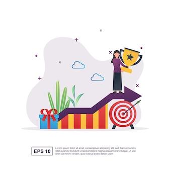Concepto de ilustración de logro empresarial con personas que poseen trofeos debido al éxito.