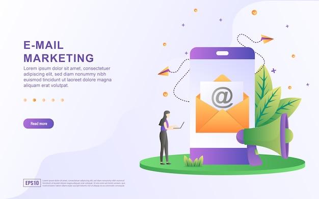 Concepto de ilustración de marketing por correo electrónico con megáfono y correo electrónico en pantalla para banner