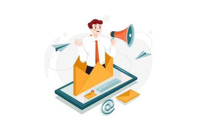 Concepto de ilustración de marketing por correo electrónico