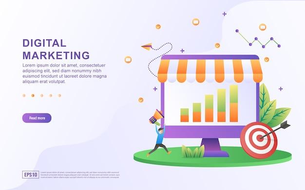 Concepto de ilustración de marketing digital con gráficos en pantalla y objetivos para banner