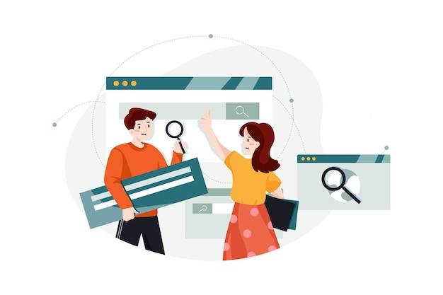 Concepto de ilustración de marketing de motores de búsqueda