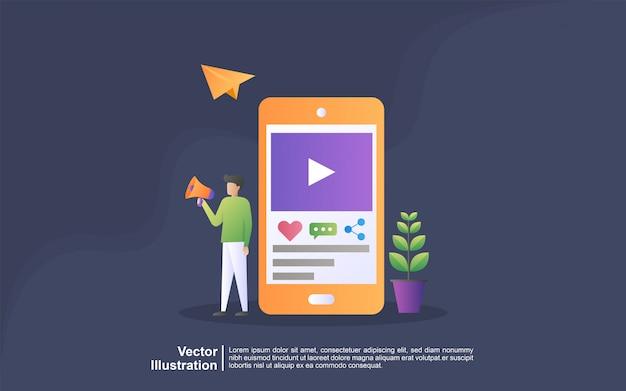 Concepto de ilustración de marketing en redes sociales. marketing digital, tecnologías digitales, publicidad en línea, concepto de marketing en línea. se puede usar para, página de inicio, plantilla, interfaz de usuario, web, aplicación móvil, banner
