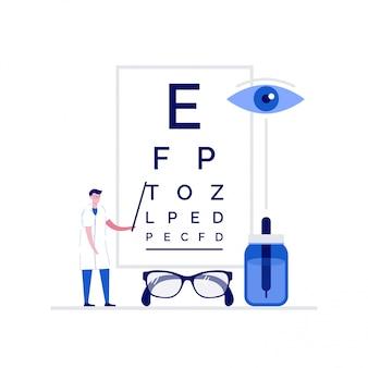 Concepto de ilustración médica de oftalmología con personajes. médico de pie junto a la tabla de prueba ocular.