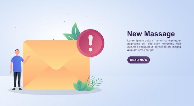 Concepto de ilustración de mensaje nuevo con una alerta de notificación.