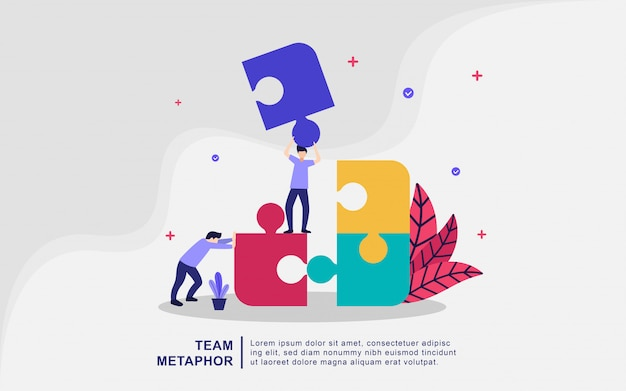 Concepto de ilustración de metáfora de equipo. coworking, freelance, teamworki, web, aplicación móvil, banner