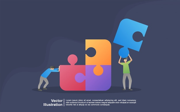 Concepto de ilustración de metáfora de equipo. coworking, freelance, trabajo en equipo, comunicación, interacción, idea, concepto de actividad independiente. se puede usar para, página de inicio, plantilla, interfaz de usuario, web, aplicación móvil, banner