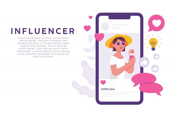 Concepto de ilustración de mujeres jóvenes como personas influyentes en las redes sociales