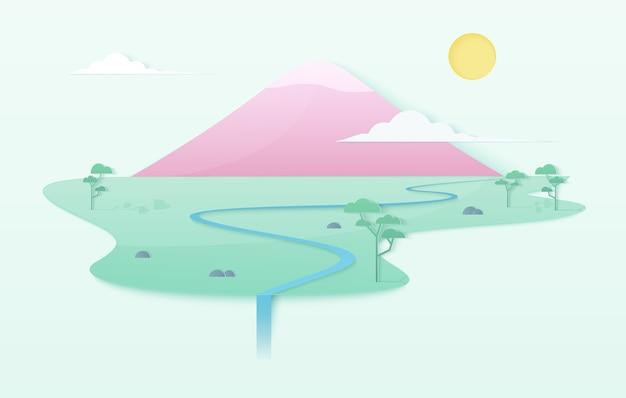 Concepto de ilustración de mundo limpio degradado suave de moda con montaña, río, árboles y cascada. cartel de plantilla de montaña rosa de estilo japonés en la isla