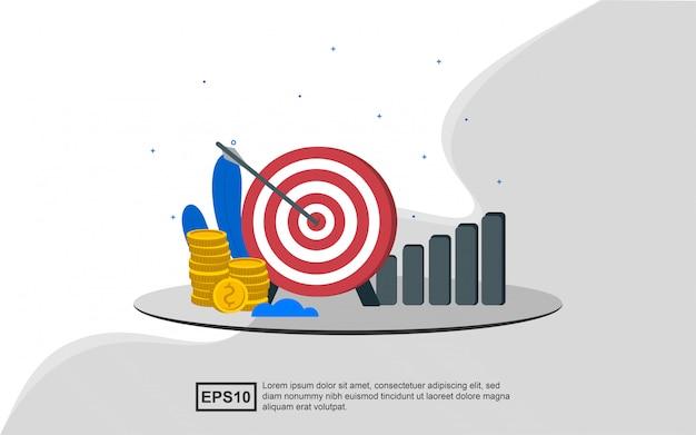 Concepto de ilustración del objetivo comercial correcto
