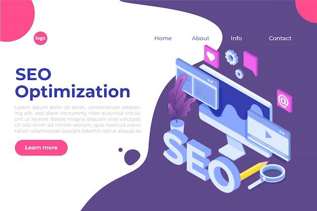Concepto de ilustración de optimización de web seo isométrica. plantilla de página de destino. etiqueta para banner web, página web, banner, presentación, redes sociales, documentos, tarjetas, carteles.