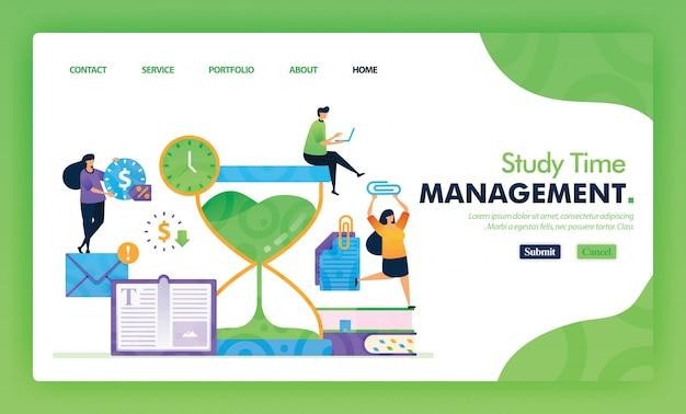 Concepto de ilustración de página de aterrizaje de regreso a la escuela de gestión del tiempo de estudio.