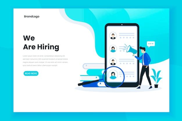 Concepto de ilustración de página de destino de contratación de trabajo