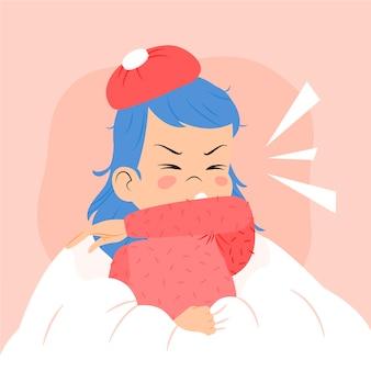 Concepto de ilustración de persona tosiendo