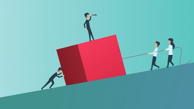 Concepto de ilustración de persona de trabajo en equipo de negocios. ambición del equipo de éxito