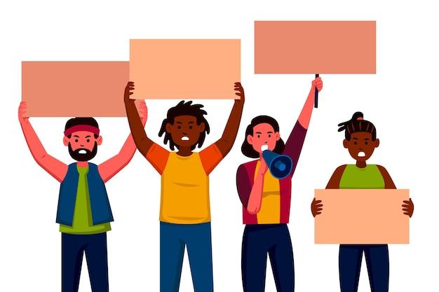 Concepto de ilustración de personas protestando