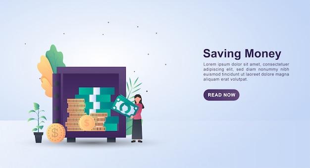 Concepto de ilustración con personas que están ahorrando dinero en una caja fuerte.