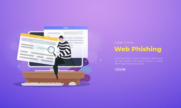 Concepto de ilustración de phishing web de ciberdelincuencia
