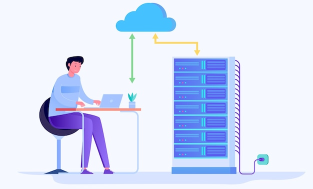 Concepto de ilustración plana de servicio de computación en la nube de alojamiento en la nube