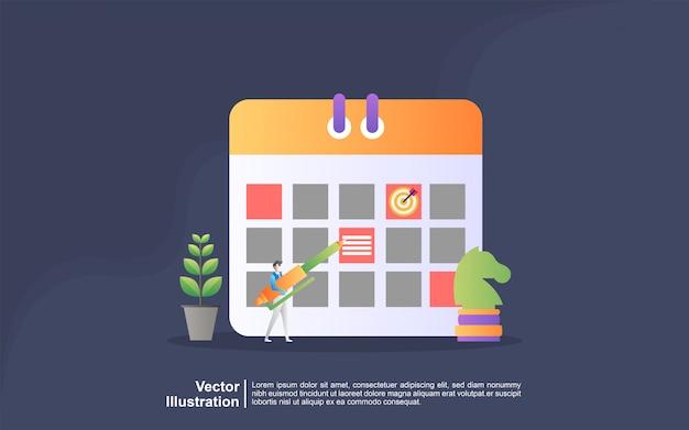 Concepto de ilustración de planificación. la gente hace un plan de gestión de horarios, planificación de negocios, lista de tareas pendientes. se puede usar para, página de inicio, plantilla, interfaz de usuario, web, aplicación móvil, banner