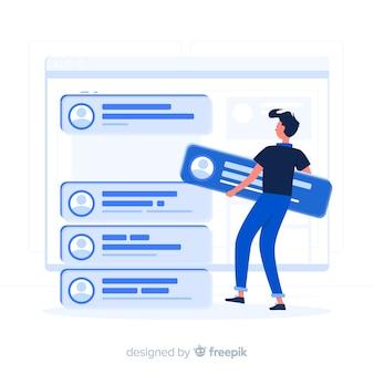 Concepto de ilustración de posts