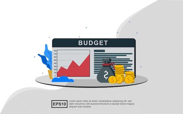 Concepto de ilustración de un presupuesto financiero