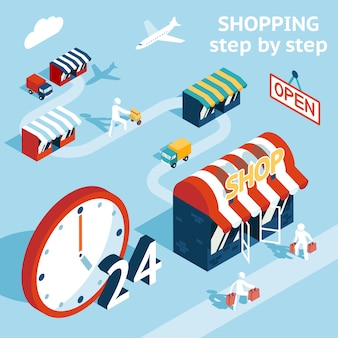 Concepto de ilustración de proceso de compra