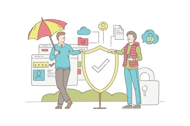 Concepto de ilustración de protección de privacidad. símbolo de seguridad, gestión, asociación.
