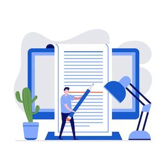 Concepto de ilustración de redacción publicitaria con personajes. un hombre que sostiene un lápiz para escribir texto en la pantalla de la computadora.