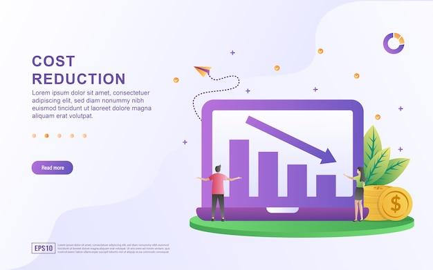 Concepto de ilustración de reducción de costos con una imagen gráfica y una flecha hacia abajo en la pantalla para banner