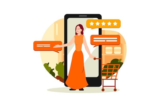 Concepto de ilustración de revisión de compras en línea