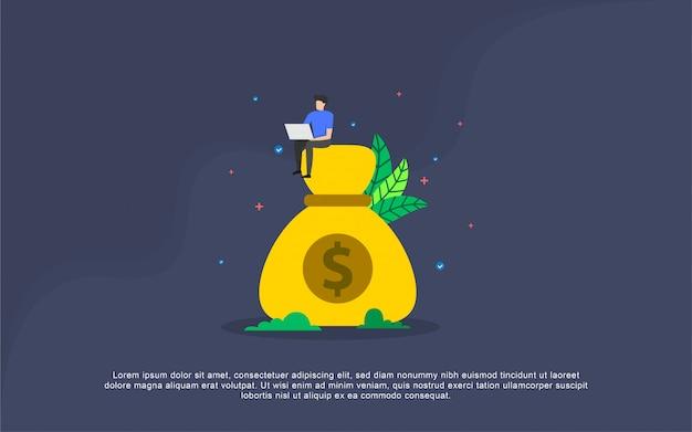 Concepto de ilustración de salario de pago con carácter de personas