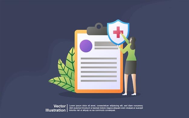 Concepto de ilustración de seguro de salud. idea de seguridad y protección de bienes y vida contra daños.